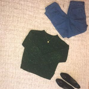H&M green sparkle sweater